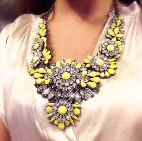 Yellow flower statement necklace house of cocohouse of coco yellow flower statement necklace mightylinksfo