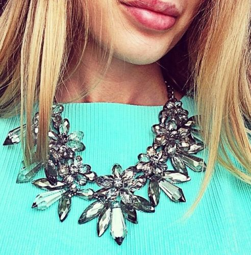 Grey Flower Statement Necklace