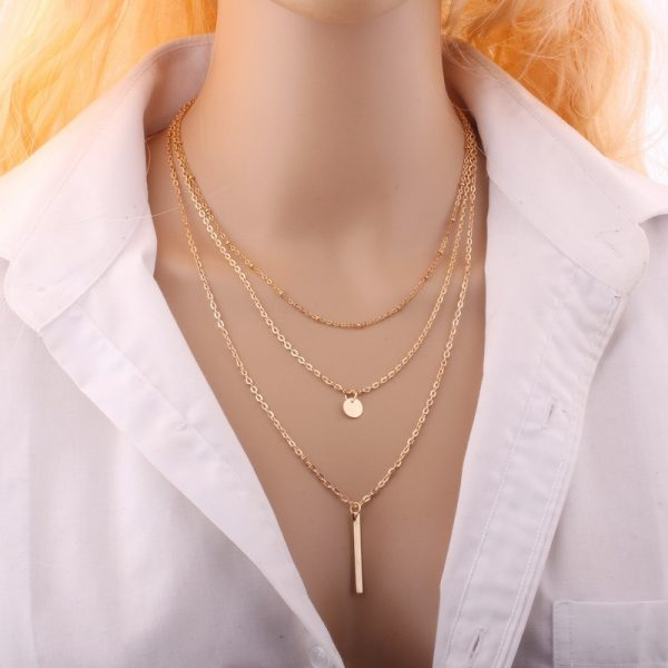 Three layer gold necklace