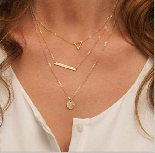 layered coin Triangle necklace