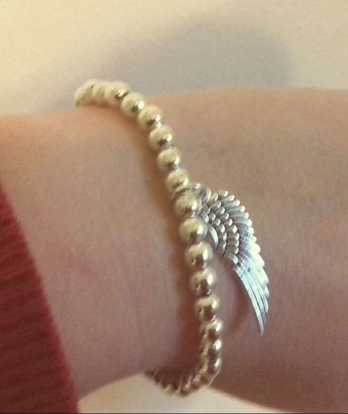 Silver Angel Wing Beaded Bracelet.