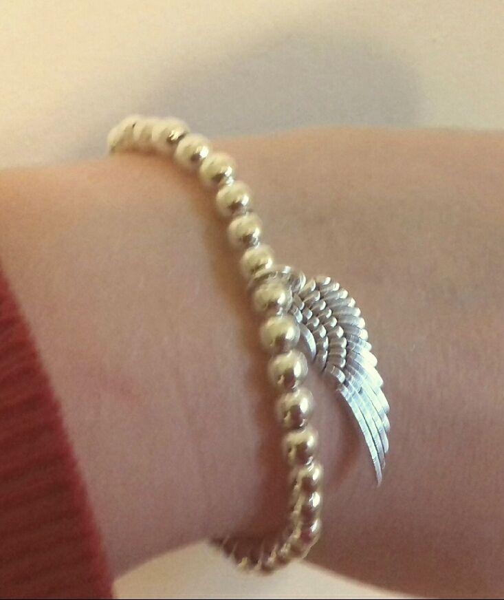 Silver Angel Wing Beaded Bracelet.