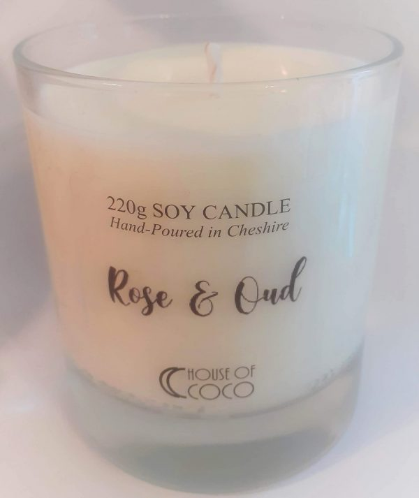 Rose & Oud Candle in Clear Vessel