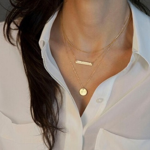 Multi-Strand Layered Gold Plated Bar Necklace.