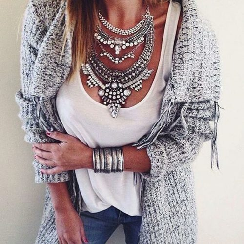 large silver statement necklace