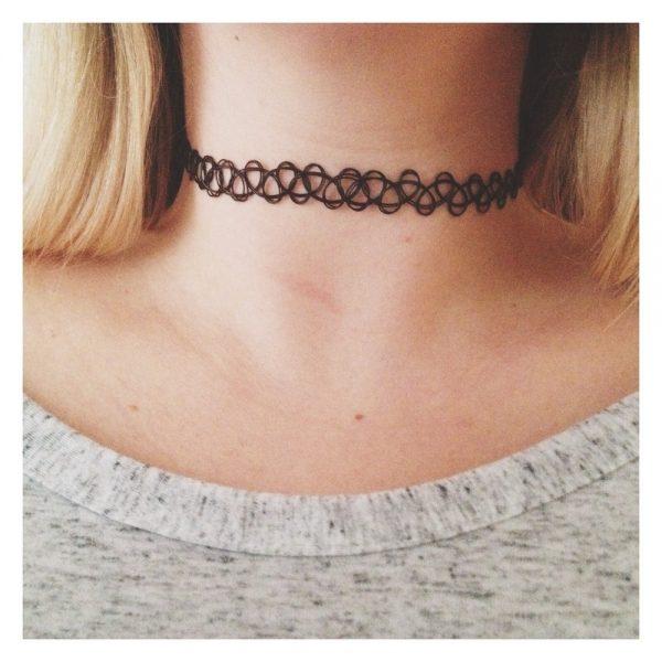 Black Stretch Tattoo Choker Necklace