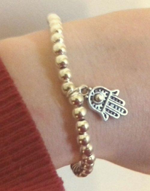 Silver Hamsa Beaded Bracelet